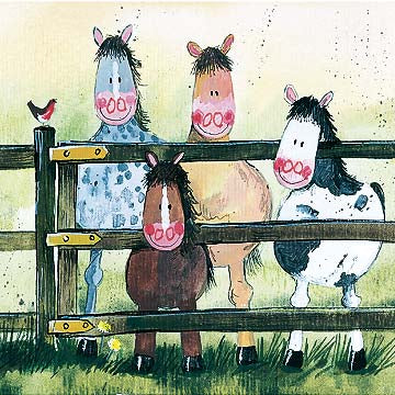 By The Gate Horses Card By Alex Clark