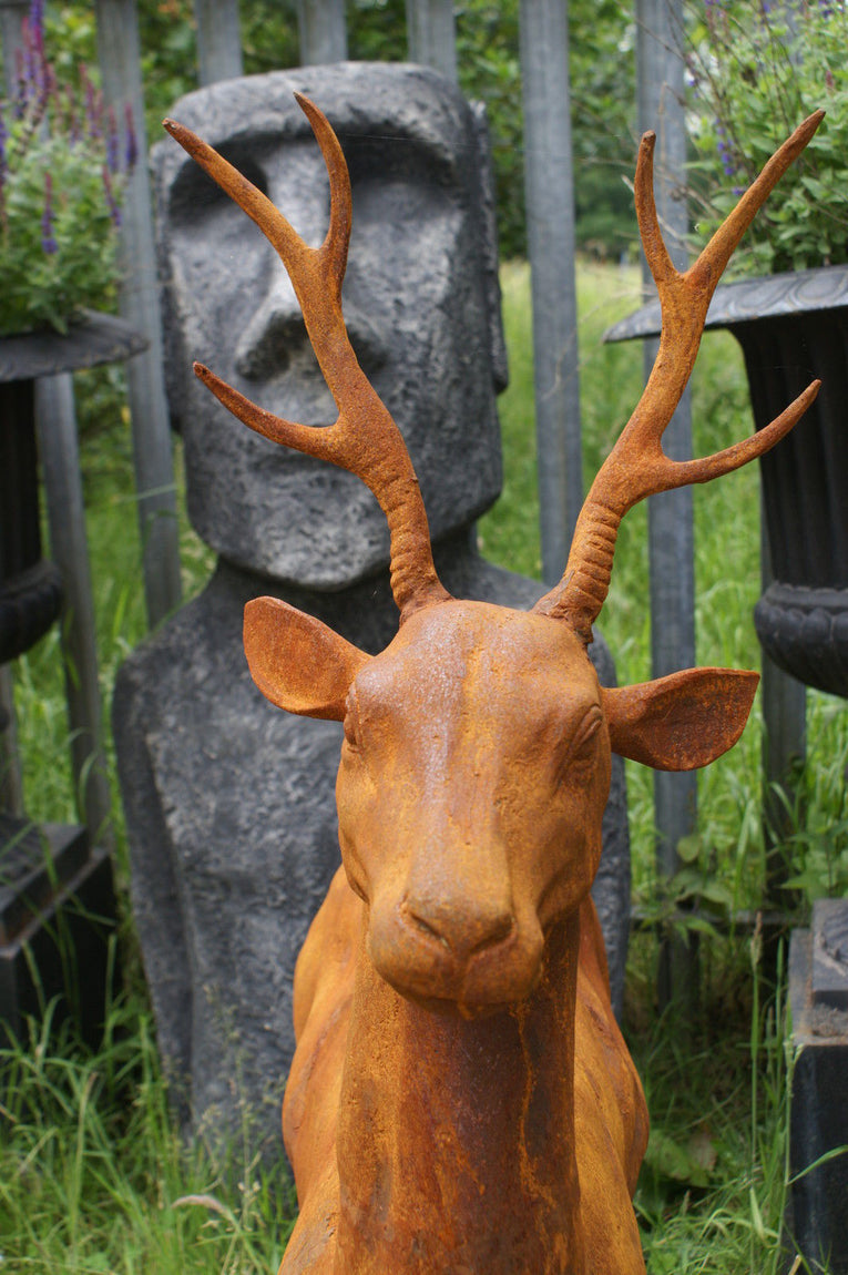 Cast Iron Young Buck Statue on Plinth