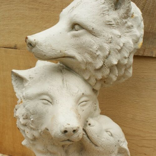 Cast Iron Antique White Fox Family Statue
