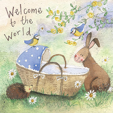 Welcome To The World Bunny New Baby Card By Alex Clark