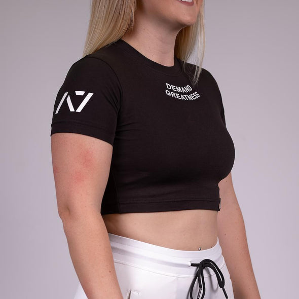 Demand Greatness Logo Women's Crop - Black