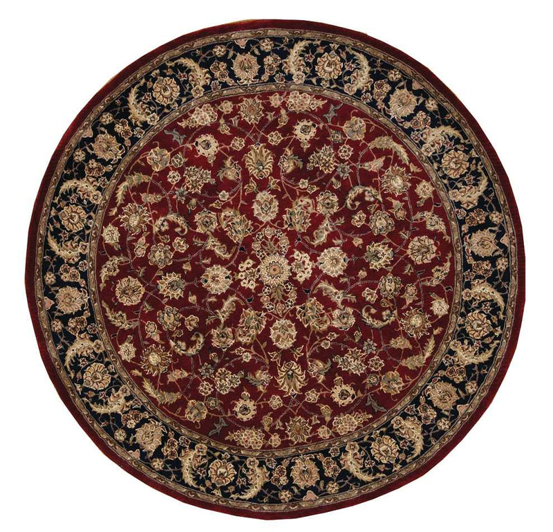 Nourison 2000 2002 Dark Red Multicolor 6' Round  Area Rug