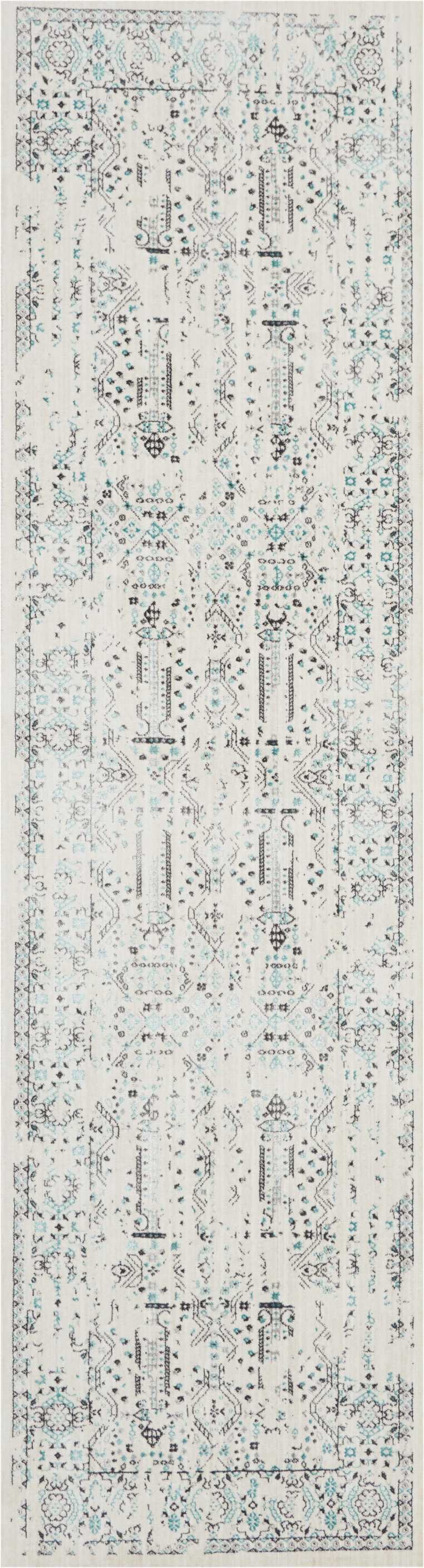 kathy ireland Home Silver Screen KI343 White and Teal Blue 8' Runner  Hallway Rug