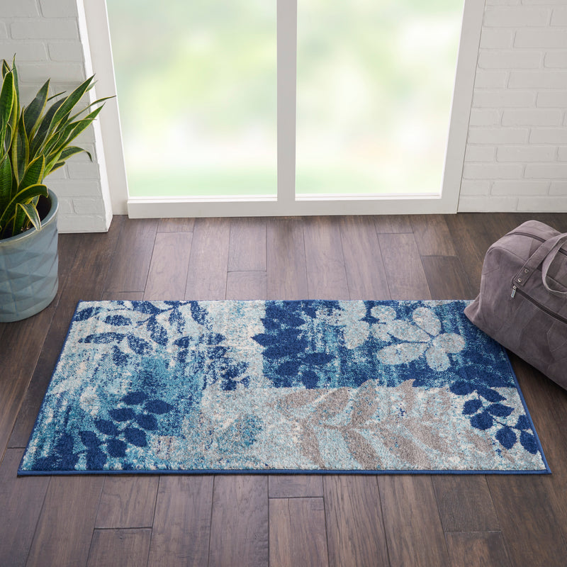 Nourison Tranquil 2'x4' Navy Blue Modern Small Rug