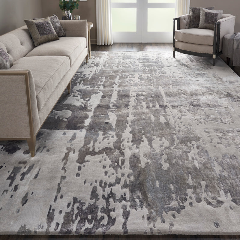 Nourison Prismatic 9'x12' Silver Grey Abstract Area Rug