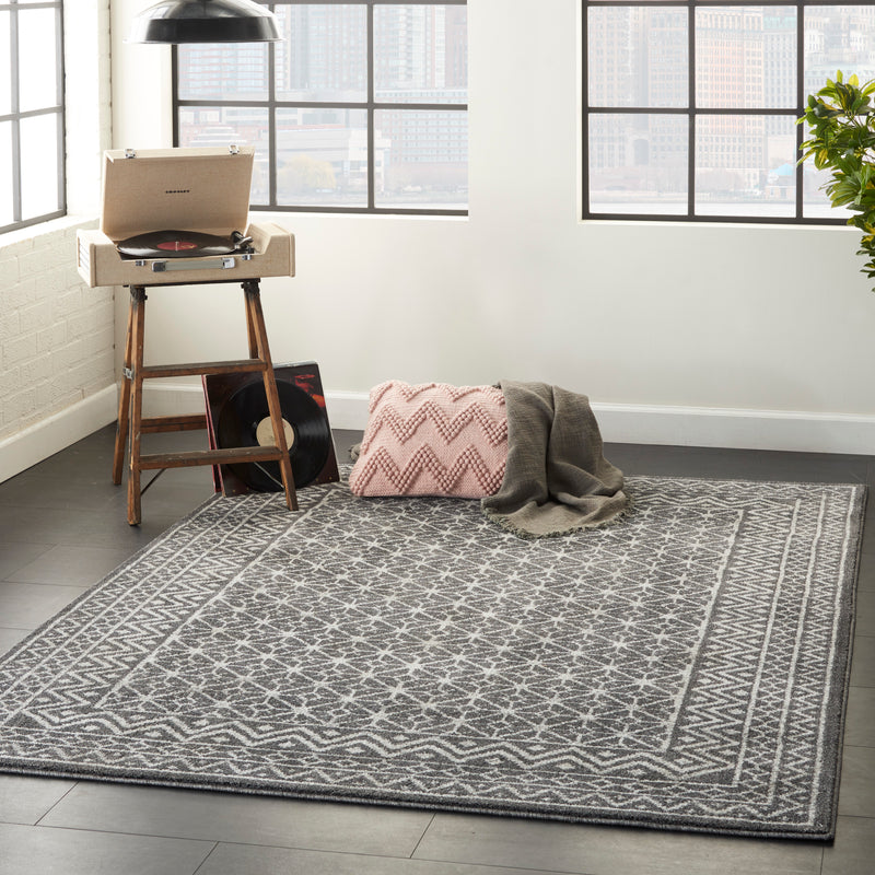 Nourison Palermo  4' x 6' Charcoal Grey and Silver  Distressed Bohemian   Area Rug