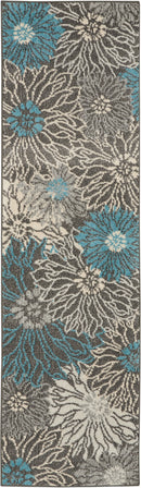 Nourison Passion 8' Runner Charcoal and Blue    Area Rug