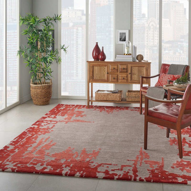 Nourison Symmetry SMM02 Ivory and Red 9'x12' Oversized Textured Rug