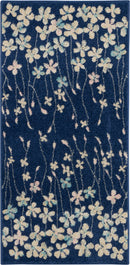 Nourison Tranquil 2'x4' Navy Blue Floral Small Rug