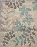 Nourison Tranquil TRA01 White and Blue 7'x10' Large  Rug