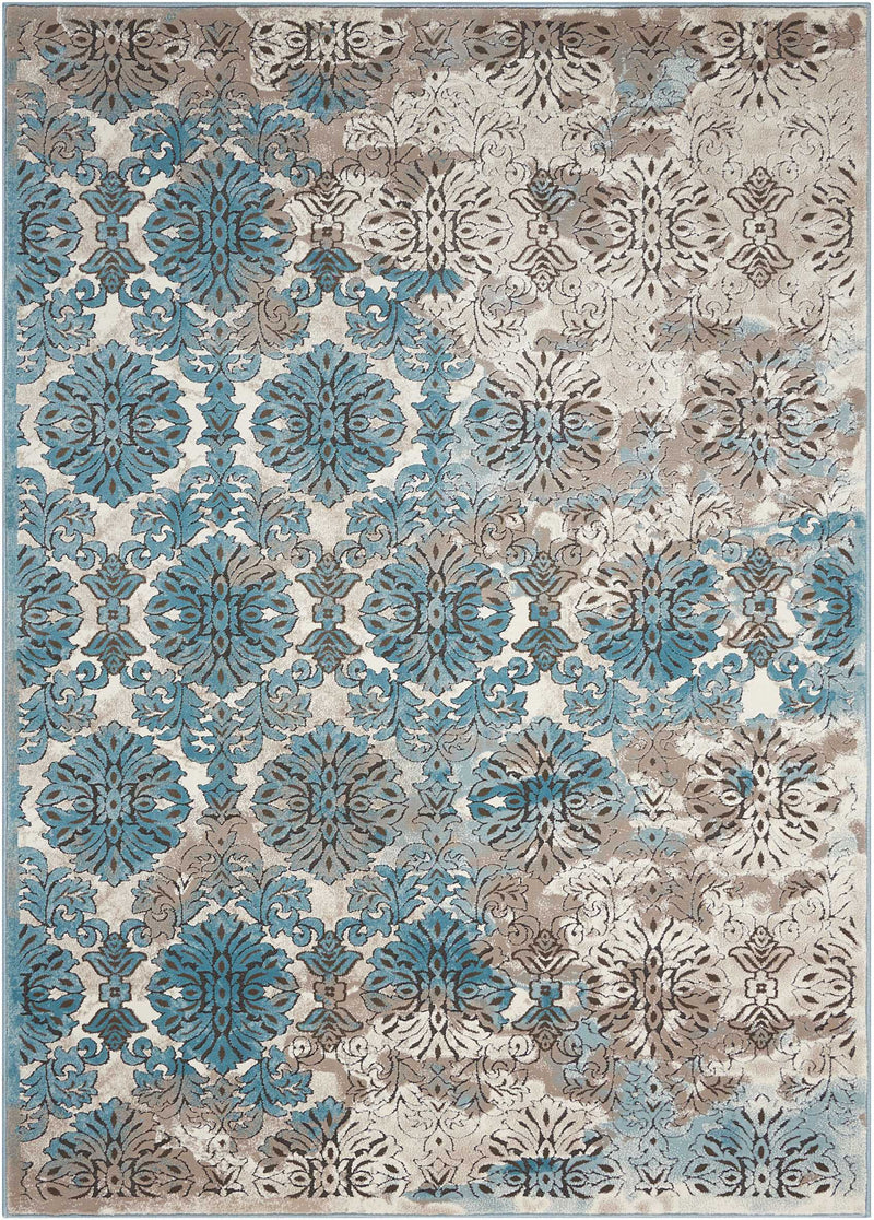 Nourison Karma KRM05 Blue and White 8'x11' Oversized  Rug