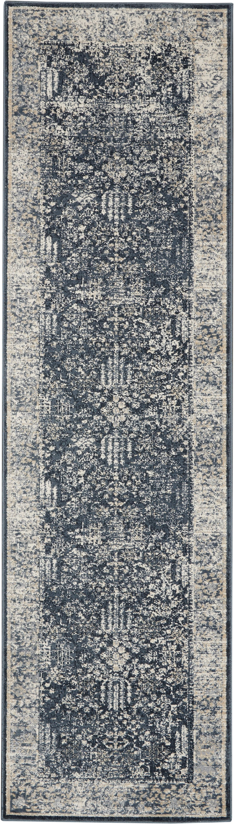 Malta by kathy ireland Home MAI12 Navy/Ivory 8' Runner Area Rug