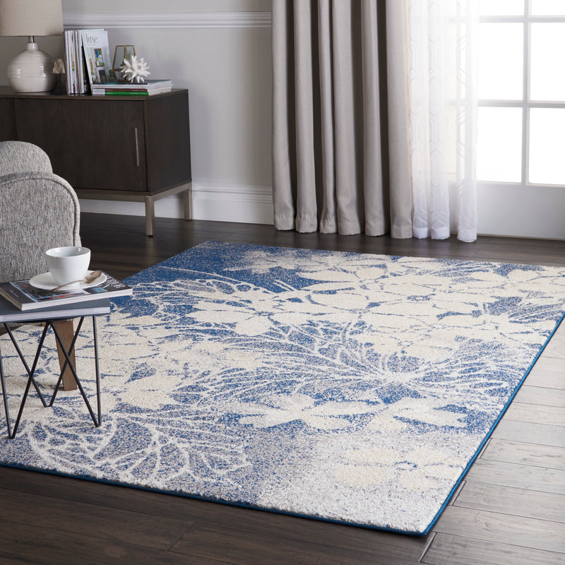 Nourison Tranquil TRA08 Navy Blue and Grey 6'x9' Ombre Floral Area Rug