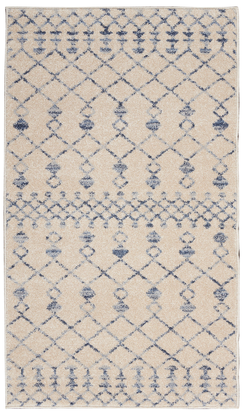 Nourison Palermo  2' x 4' Beige and Blue  Distressed Bohemian   Area Rug