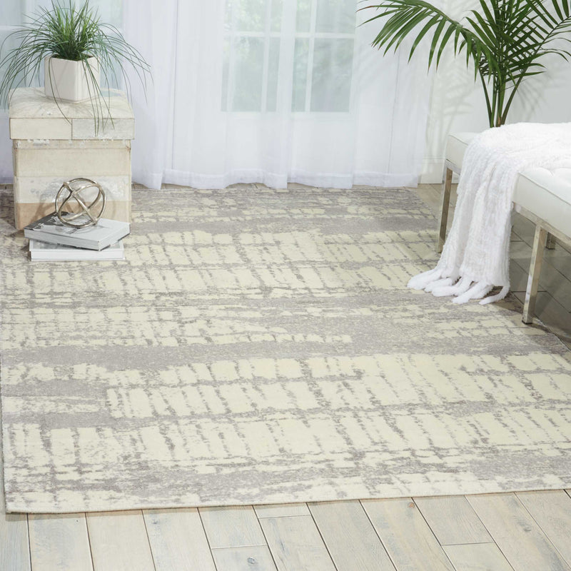 Nourison Twilight TWI10 White 6'x8'  Area Rug