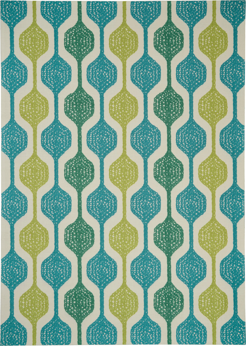 Waverly Sun N Shade SND70 Blue and Green 10'x13' Oversized Indoor-outdoor Rug