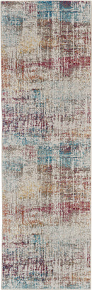 Nourison Radiant RAD07 Grey Multicolor 7' Runner Low-pile Hallway Rug