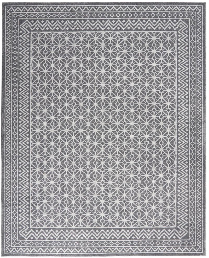 Nourison Palermo  7' x 10' Charcoal Grey and Silver  Distressed Bohemian   Area Rug