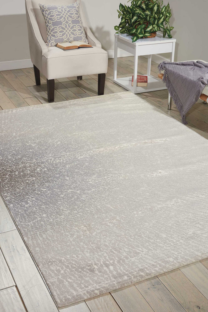 Nourison Twilight TWI12 Grey and White 12'x15' Oversized  Rug