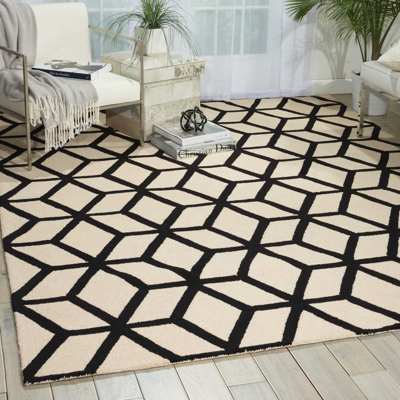 Nourison Linear LIN01 White and Black 4'x6'  Area Rug