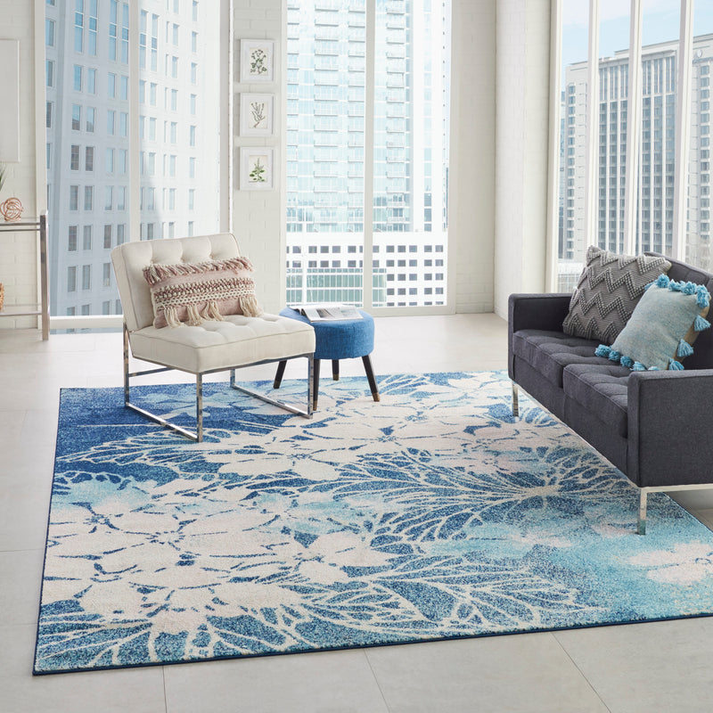 Nourison Tranquil TRA08 Navy Blue and White 8'x10' Large  Rug