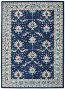 Nourison Tranquil TRA10 Navy Blue 6'x9' Bordered Oriental Area Rug