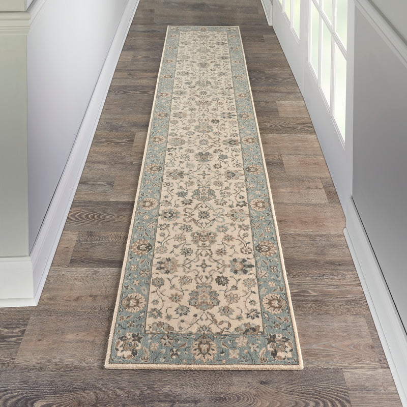 Nourison Living Treasures 12' Runner Ivory and Aqua    Area Rug