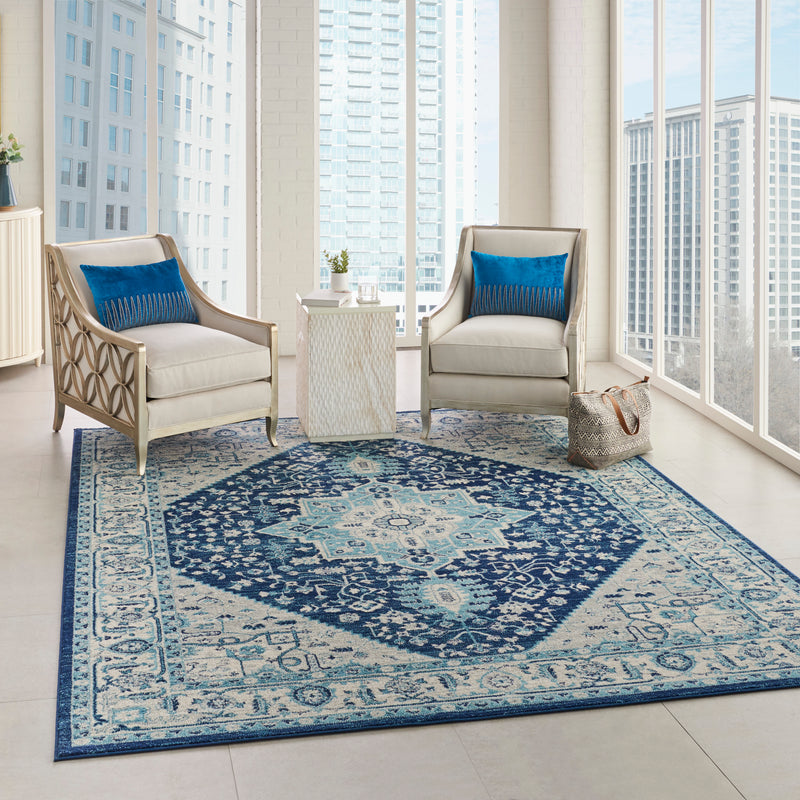 Nourison Tranquil TRA06 Blue and White 8'x10' Large  Rug