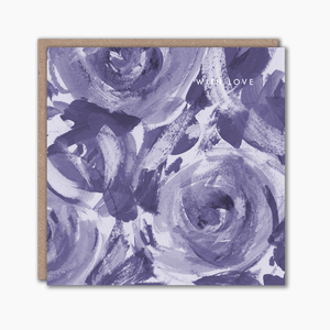 Blue painterly floral greeting card