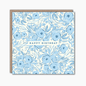 Blue floral patterned happy birthday card