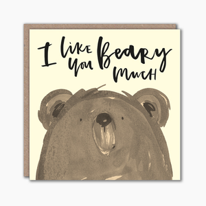 Pun greeting card with illustrated bear character