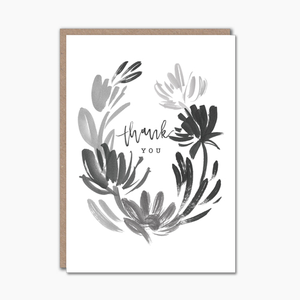 Botanical ink illustration thank you card