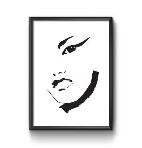 Black and white face art print