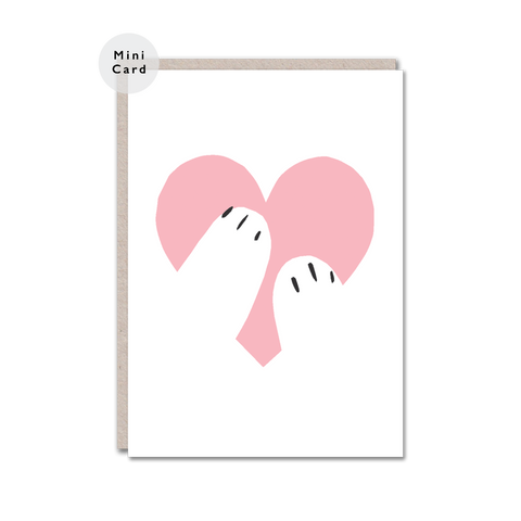 pink heart hug mini card