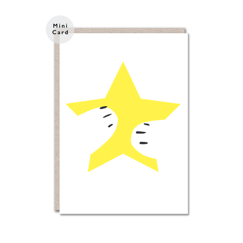 yellow star hug mini card