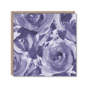 blue floral with love greeting card