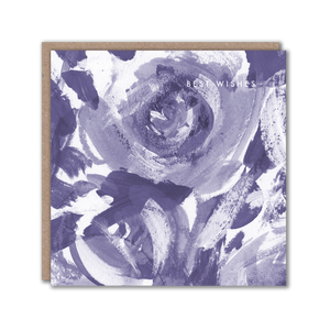 Blue Floral Best Wishes Greeting Card