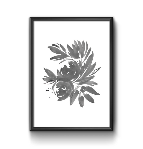 Ink floral illustration print