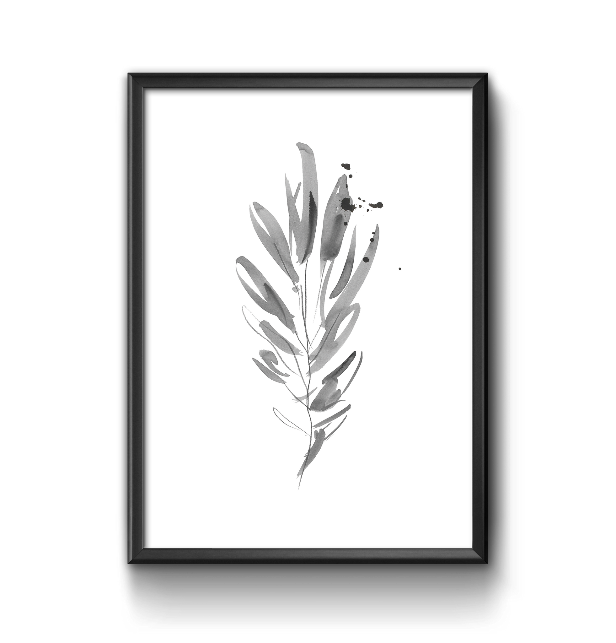 Ink leaf illustration print