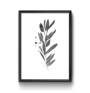 Black and white ink leaf illustration print