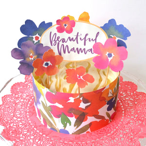 Mother's Day cake decorated in pretty floral cake toppers