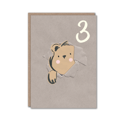 Age 3 Bear Birthday Card