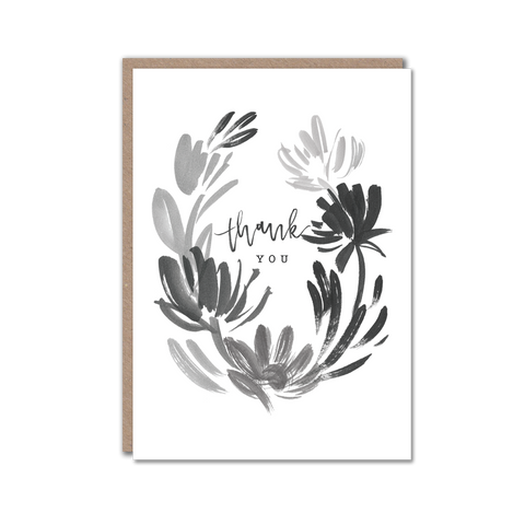 black and white floral thank you card