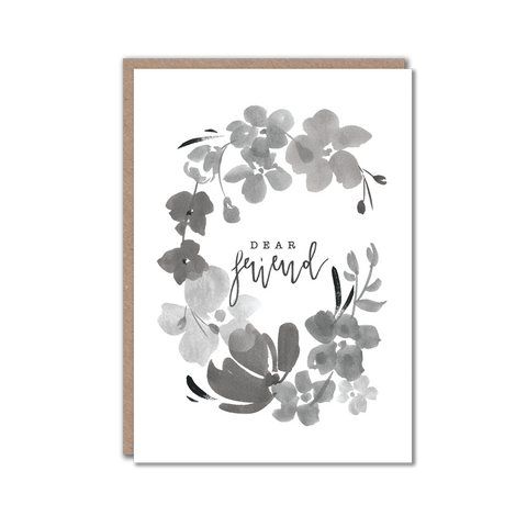 Black and white floral friend greeting card