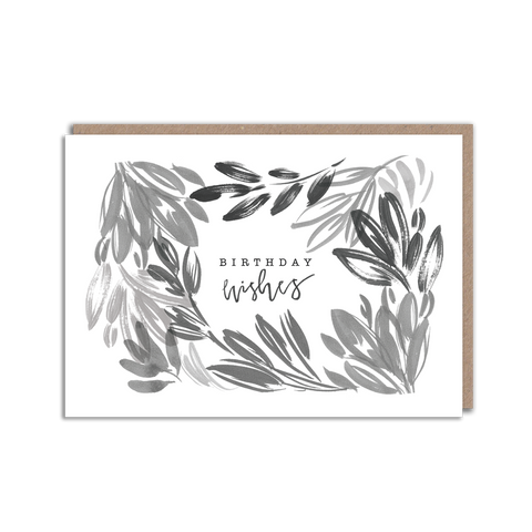 Black and white floral birthday wishes card