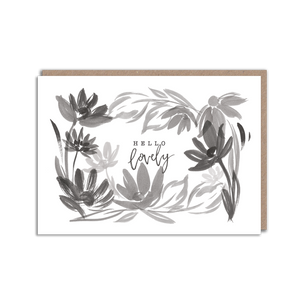 Black and white floral hello card