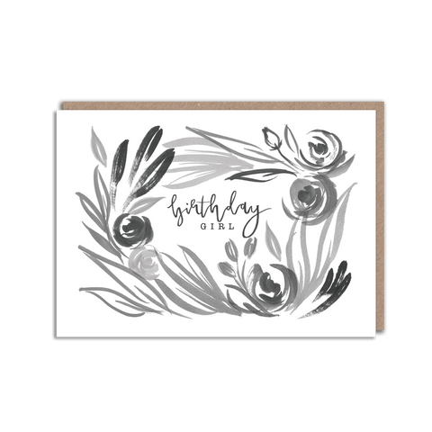 Black and white floral birthday girl card