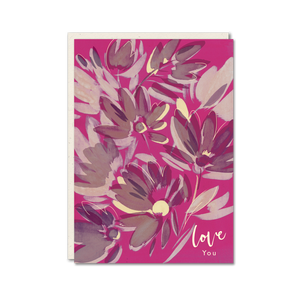 pink floral love you card