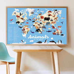 Poppik Giant Sticker Poster - Animals of the World