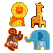 Load image into Gallery viewer, Petit Collage Safari Babies Beginner Puzzle